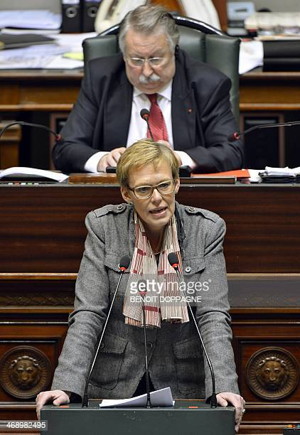 Belgian MP Karine Lalieux delivers a speech during a plenary session of the Chamber at the Federal Parliament in Brussels on February 12 2014 Belgium...