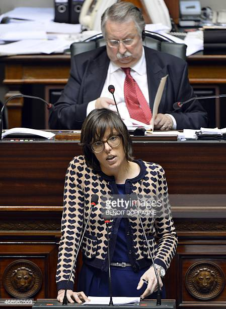 Belgian MP Sarah Smeyers delivers a speech during a plenary session of the Chamber at the Federal Parliament in Brussels on February 12 2014 Belgium...