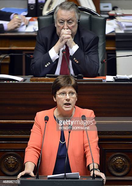 Belgian MP Sonja Becq delivers a speech during a plenary session of the Chamber at the Federal Parliament in Brussels on February 12 2014 Belgium...