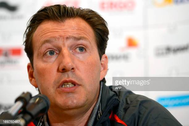 Belgian national football team coach Marc Wilmots gives a press conference at the bhouse Brussels Airlines headquarters at Brussels' airport on May...
