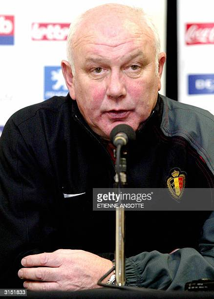 Belgian national soccer coach Aime Anthuenis gives a news conference 29 March 2004 prior to a training session in Laakdal The Belgian Red Devils will...