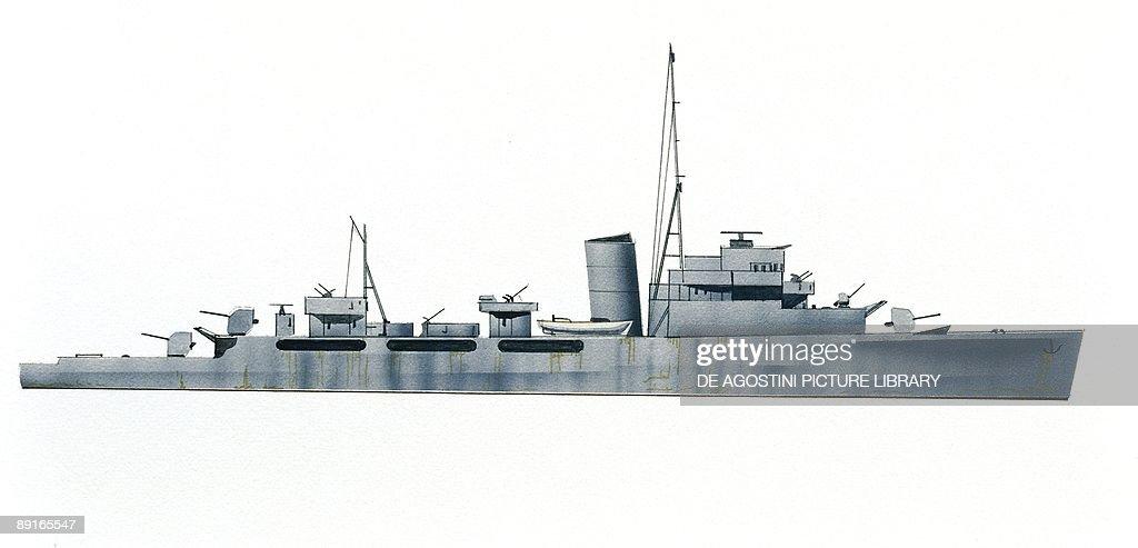 Belgian Navy frigate Artevelde, August 1940, illustration : News Photo