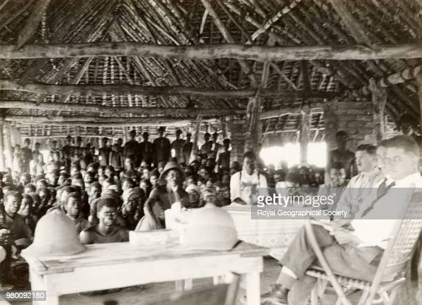 Belgian officials at the gathering of the chiefs, Democratic Republic of the Congo, 1915.