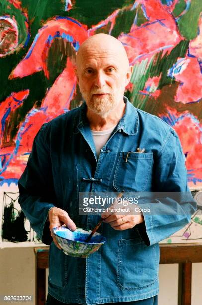 Belgian painter Pierre Alechinsky at work in his workshop on August 7 1995 in Provence France