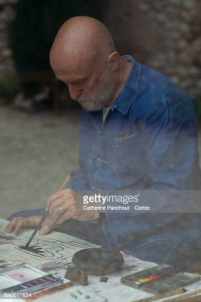 Belgian painter Pierre Alechinsky in his workshop in Provence