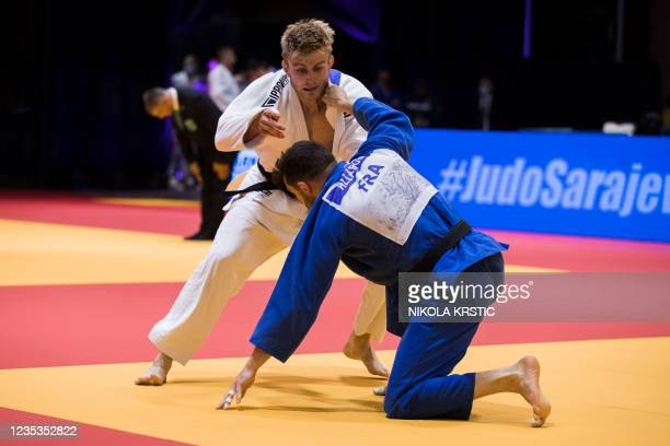 Belgian Pieter Vandyck pictured in action in a fight of the men -81kg at the European Judo Open in Sarajevo, Bosnia and Herzegovina, Sunday 19...