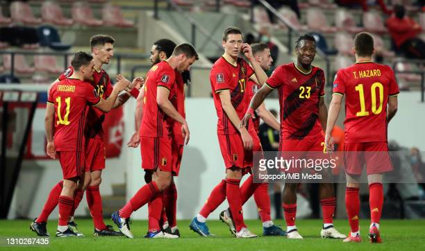 Belgian players celebrate after Leandro Trossard of Belgium scored the 3-0 goal during the FIFA World Cup 2022 Qatar qualifying match between Belgium...