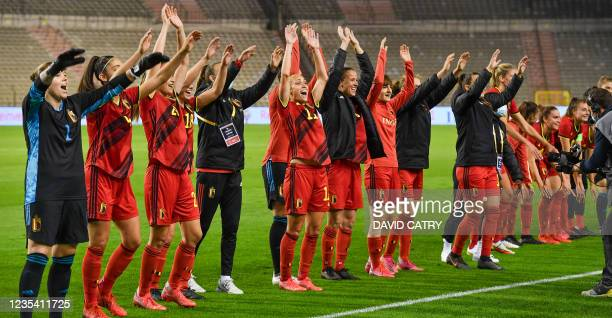 Belgian players celebrate after winning a soccer game between Belgium's national team the Red Flames and Albania, Tuesday 21 September 2021 in...