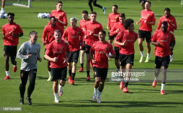 """Belgian players during a training session of the Belgian national soccer team """" The Red Devils """" ahead of the upcoming FIFA World Cup Qatar 2022..."""