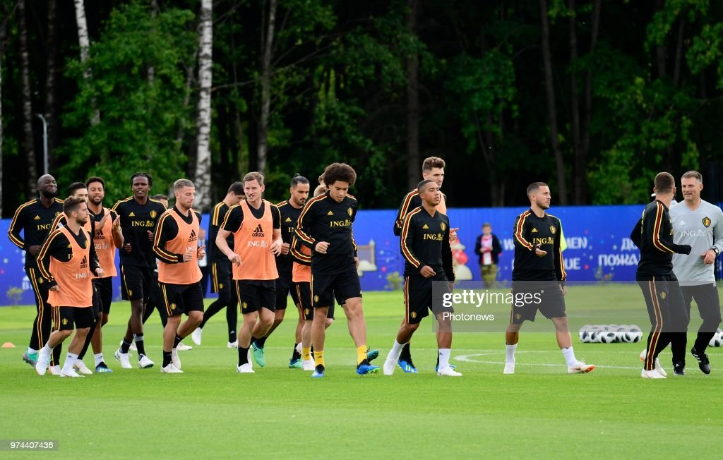 Belgian players during a training session of the National Soccer Team of Belgium as part of the preparation prior to the FIFA 2018 World Cup Russia group G phase match between Belgium and Panama at the Guchkova Sports center in Dedovsk on June 14, 2018 in Moscow, Russia,