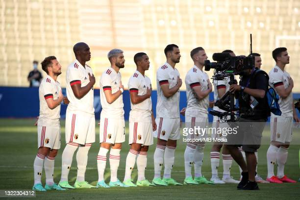 Belgian players line-up during the international friendly match between Belgium and Croatia at King Baudouin Stadium on June 6, 2021 in Brussels,...