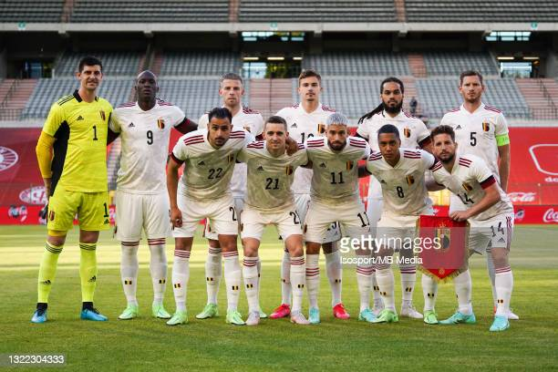 Belgian players pose for a team photo during the international friendly match between Belgium and Croatia at King Baudouin Stadium on June 6, 2021 in...