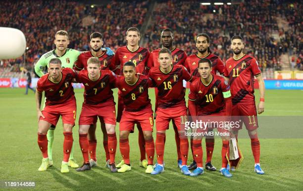 Belgian players pose for a team photo during the UEFA Euro 2020 Qualifier between Belgium and Cyprus on November 19, 2019 in Brussels, Belgium.