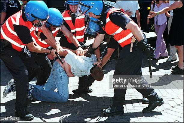 Belgian police arrest hooligans before and during England/Germany Euro 2000 game in Charleroi, Belgium on June 17, 2000.