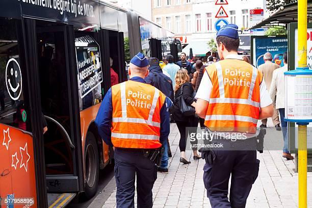 Belgian policemen on patrol
