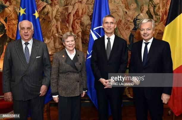 Belgian politician Etienne Davignon Deputy Secretary General of NATO Rose Gottemoeller Belgian Foreign Minister Didier Reynders and NATO Secretary...