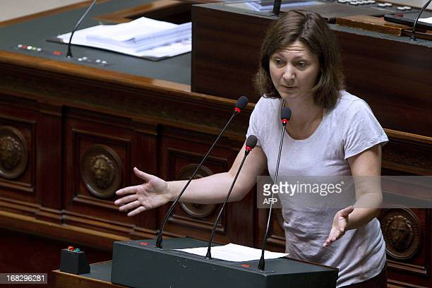 Belgian politician Maya Detiege speaks during a plenary session of the Chamber at the federal parliament in Brussels on May 8 2013 AFP...