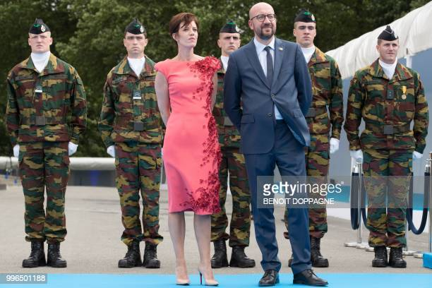Belgian Prime Minister Charles Michel and his partner Amelie Derbaudrenghien wait for arrivals prior to a working dinner at The Parc du...