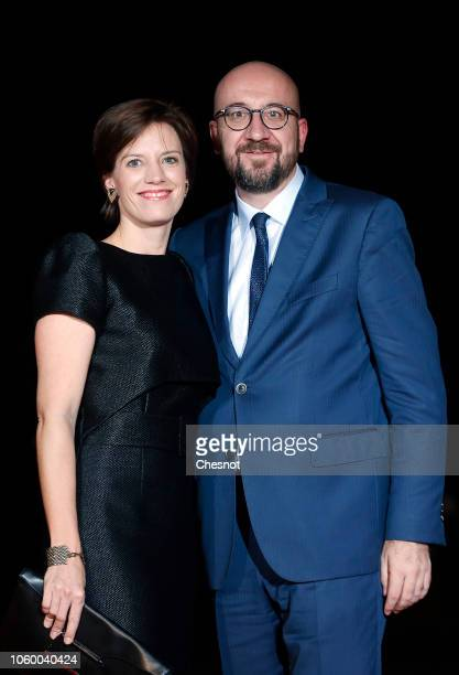 Belgian Prime Minister Charles Michel and his wife Amelie Derbaudrenghien arrive to attend a dinner hosted by French President Emmanuel Macron at the...