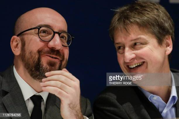 Belgian Prime Minister Charles Michel and MR chairman Olivier Chastel pictured during a press conference of liberal Frenchspeaking party MR at their...