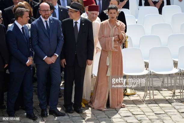 Belgian Prime Minister Charles Michel and Princess Lalla Meryem of Morocco attend the tribute to Simone Veil during her funeral at Hotel Des...