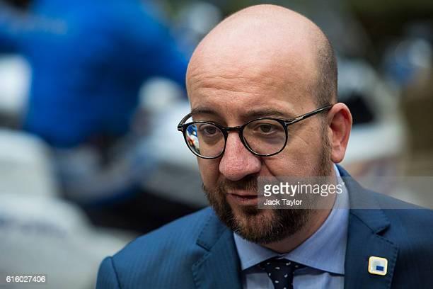 Belgian Prime Minister Charles Michel arrives at the Council of the European Union on the second day of a two day summit on October 21 2016 in...