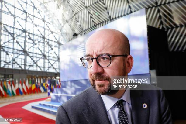 Belgian Prime Minister Charles Michel arrives for the second day of the EU summit meeting Friday 22 March 2019 at the European Union headquarters in...