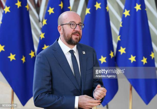 Belgian Prime Minister Charles Michel attends the EU members' informal meeting of the 27 heads of state or government at European Council...
