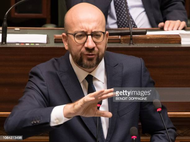 Belgian Prime Minister Charles Michel delivers a speech at a plenary session of the Chamber at the Federal Parliament in Brussels on November 22 2018...
