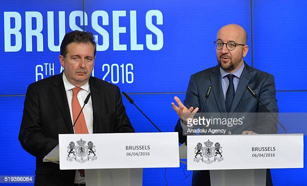 Belgian Prime Minister Charles Michel delivers a speech on the Brussels terror attacks during a joint press conference with Brussels region...