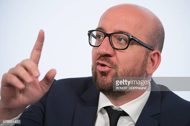 Belgian Prime Minister Charles Michel gestures during a Minister's council meeting of the federal government in Brussels on April 24 2015 OUT**