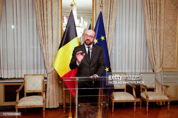 Belgian Prime Minister Charles Michel gives a press conference after a Kern meeting a restricted ministers meeting of the Federal Government in...