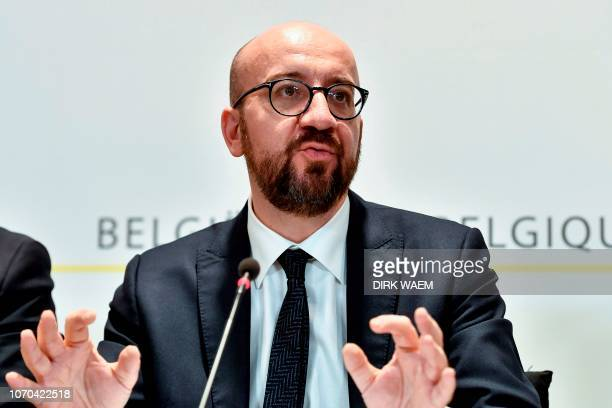 Belgian Prime Minister Charles Michel gives a press conference after a cabinet meeting of the Federal government in Brussels on December 9 2018...