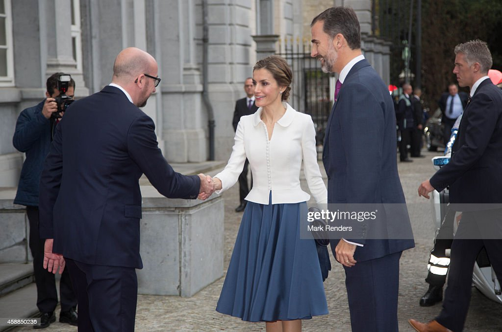 Belgian Prime Minister Charles Michel greets Queen Letizia of Spain and King Felipe of Spain during a Spanish State visit at the Egmond Palace on November 12, 2014 in Brussel, Belgium.