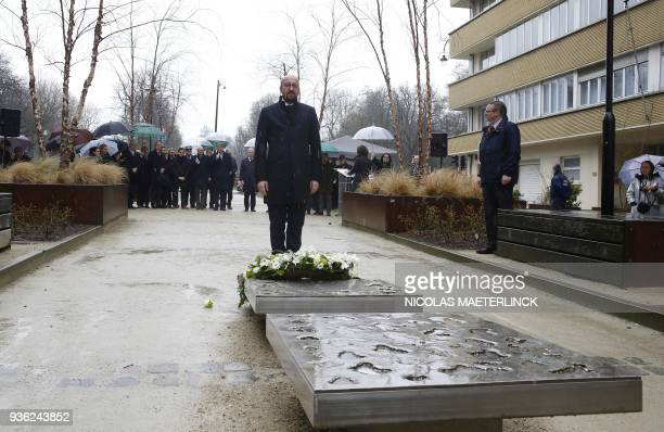 TOPSHOT Belgian Prime Minister Charles Michel lays a wreath to mark the second anniversary of the 2016 terrorist attacks in Brussels at the...