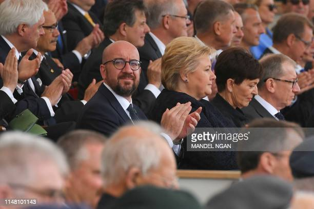 Belgian Prime Minister Charles Michel Norwegian Prime Minister Erna Solberg New Zealand's GovernorGeneral Patsy Reddy and Philip May husband of...