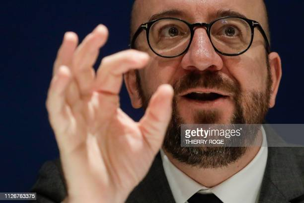 Belgian Prime Minister Charles Michel pictured during a press conference of liberal Frenchspeaking party MR at their headquarters in Brussels on the...