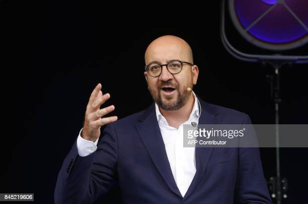 Belgian Prime Minister Charles Michel speaks at the summer university of Frenchspeaking liberal party Mouvement Reformateur ahead of the new...