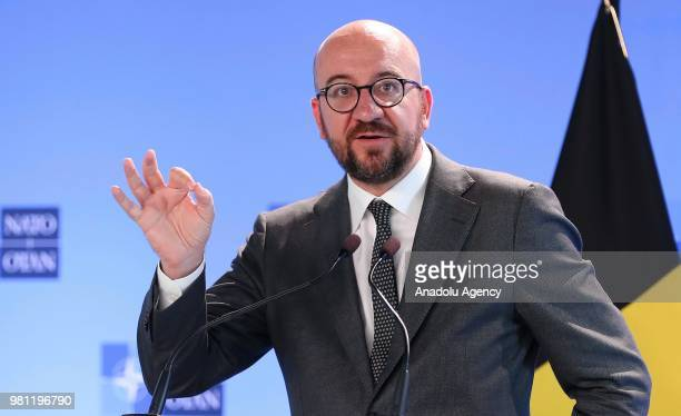 Belgian Prime Minister Charles Michel speaks during joint press conference with Secretary General of North Atlantic Treaty Organization Jens...