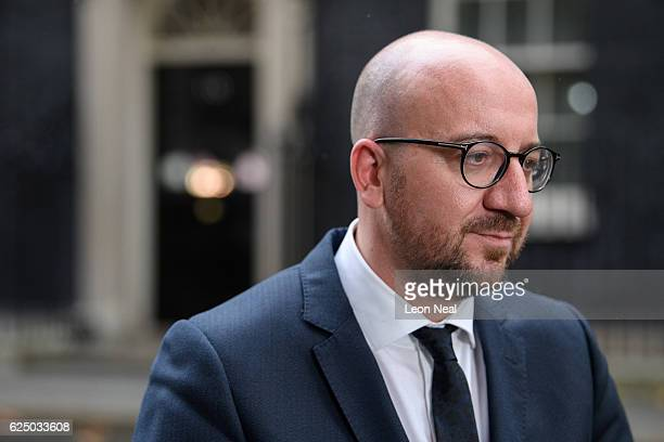 Belgian Prime Minister Charles Michel speaks to members of the press following a meeting with British Prime Minister Theresa May at 10 Downing Street...