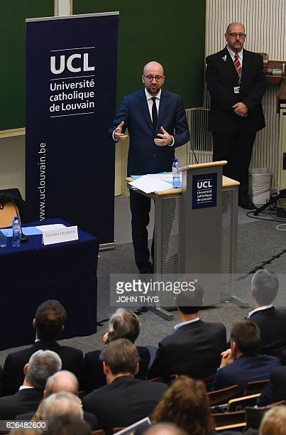 Belgian Prime Minister Charles Michel talks during the opening conference 'Europe stop or go' at the European Institute of the Catholic University of...
