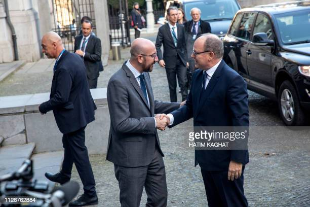 Belgian Prime Minister Charles Michel welcomes Prince Albert of Monaco for a conference on climate change and the state of the oceans organised by...