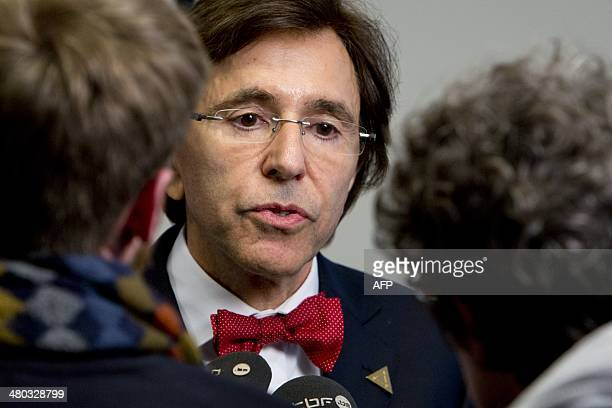 Belgian Prime minister Elio Di Rupo is pictured prior to a meeting as part of The World Forum in The Hague on March 24, 2014 on the first day of the...