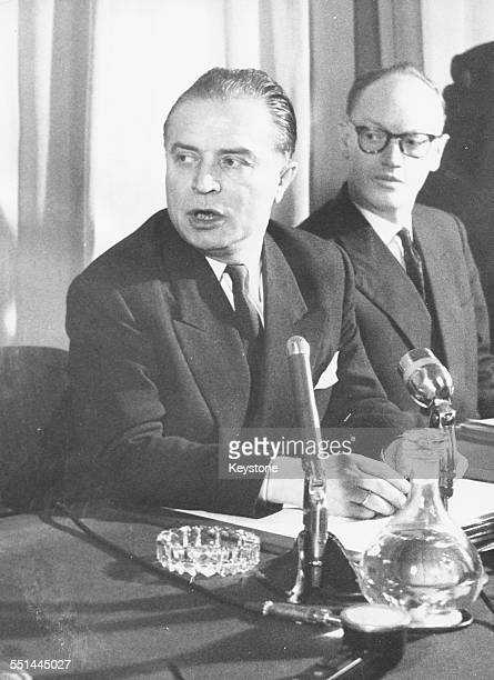 Belgian Prime Minister Gaston Eyskens at a press conference to discuss rioting and strikes in the country, Brussels, circa 1970.