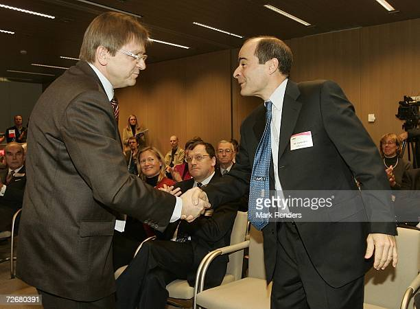 Belgian Prime Minister Guy Verhofstadt and Inbev CEO Carlos Brito are seen at the Inbev Brewery on November 30 2006 in Leuven Belgium