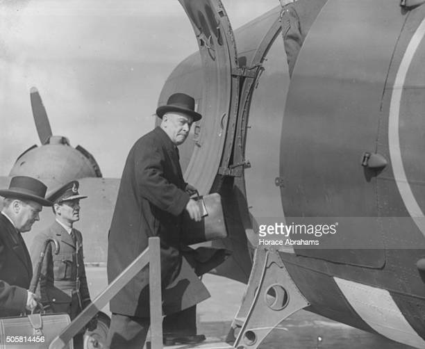 Belgian Prime Minister Hubert Pierlot boarding a plane back to liberated Brussels during World War Two, at London Airport, September 8th 1944.