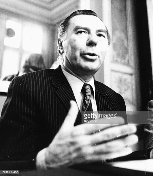 Belgian Prime Minister Leo Tindemans speaking at a press conference as he dissolves Parliament and calls for a General Election, March 9th 1977.