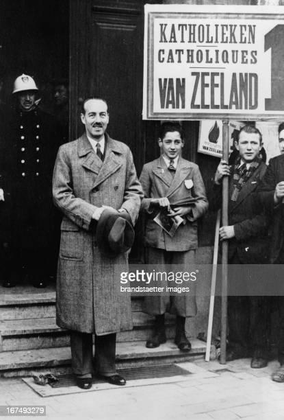 Belgian Prime Minister Paul Van Zeeland at electioneering. 11th April 1937. Photograph. Der belgische Ministerpräsident Paul van Zeeland im Wahkampf....