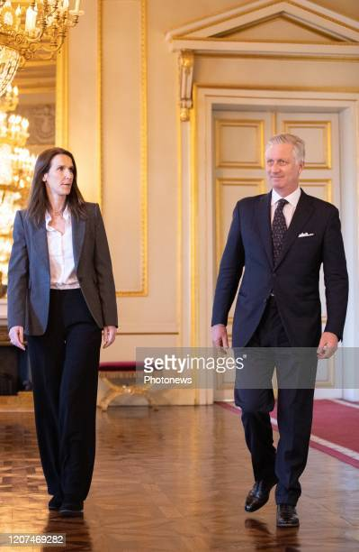 Belgian Prime Minister Sophie Wilmes and King Philippe Filip of Belgium pictured ahead of the oath ceremony at the Royal Palace after Yesterday's...