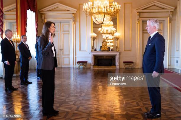 Belgian Prime Minister Sophie Wilmes and King Philippe Filip of Belgium pictured during the oath ceremony at the Royal Palace after Yesterday's Kern...
